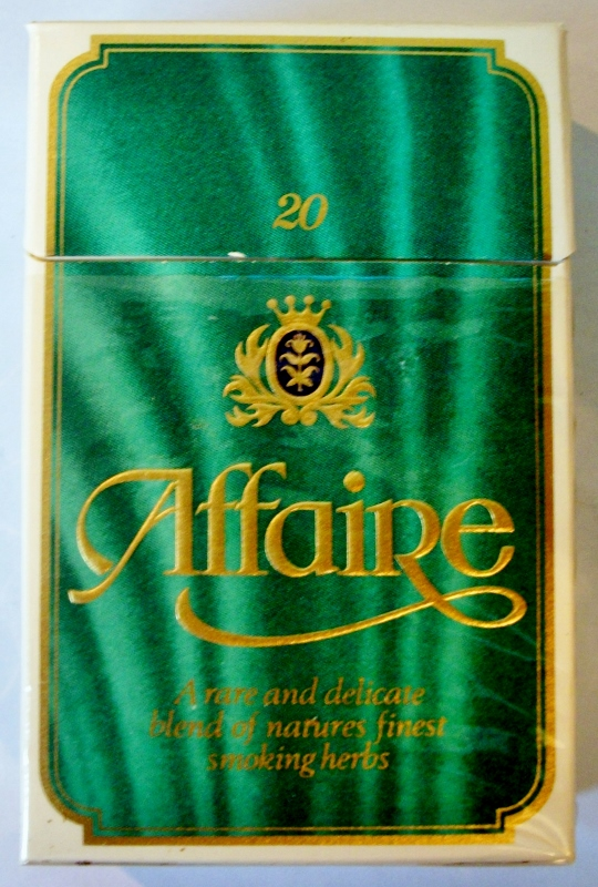 Affaire non-tobacco vintage Swiss-United Kingdom Cigarette Pack