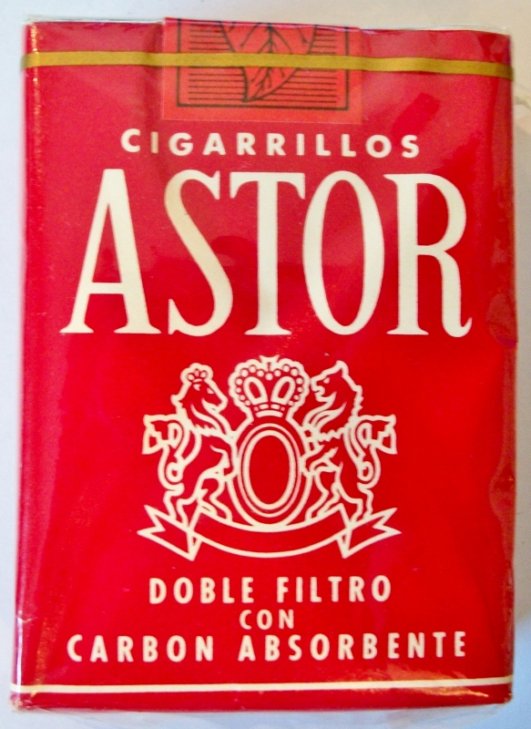 Cigarillos Astor Doble Filtro con Carbon Absorbente 70mm - vintage Venezuelan Cigarette Pack