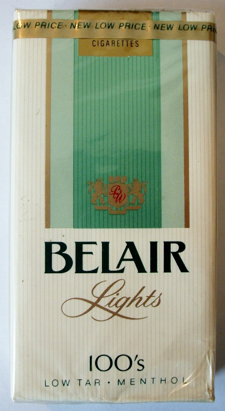 Belair Lights 100s Low Tar, Menthol - vintage American Cigarette Pack
