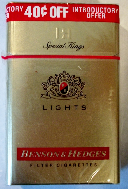Benson and Hedges Special Kings Lights - vintage American Cigarette Pack