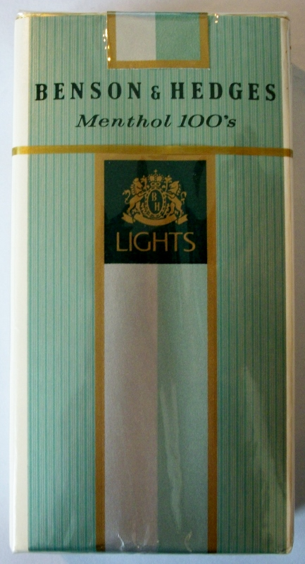 Benson & Hedges De Luxe 85mm in coupon case - vintage American Cigarette Pack