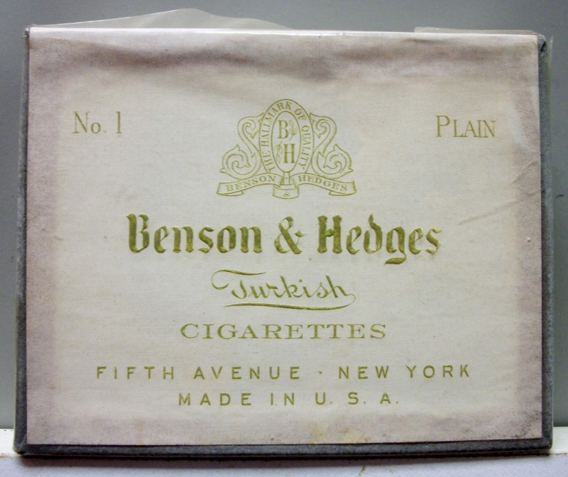 Benson & Hedges Turkish Cigarettes No. 1 Plain 10 - vintage American Cigarette Pack