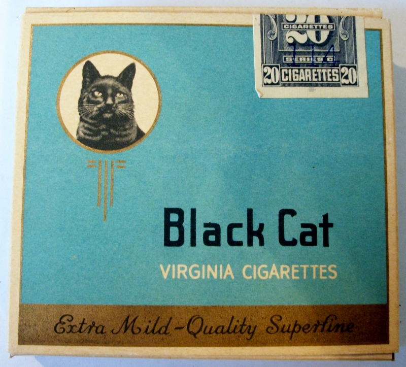 Black Cat, Cork Extra Mild, Virginia - vintage Canadian Cigarette Pack