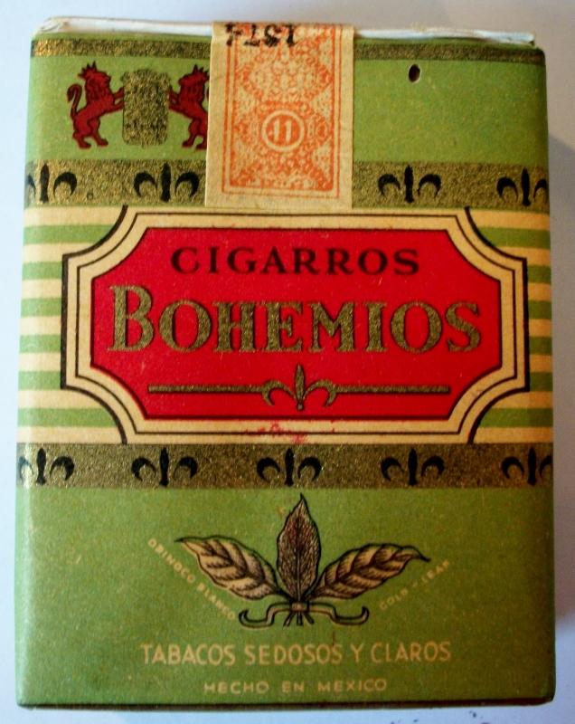 Cigarros Bohemios El Aguila tabacos sedosos y claro - vintage Mexican Cigarette Pack