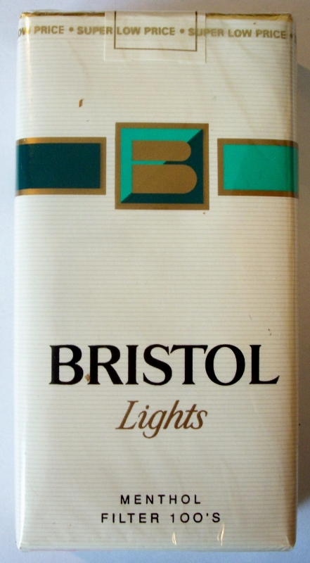 Bristol Lights Menthol Filter 100's - vintage American Cigarette Pack