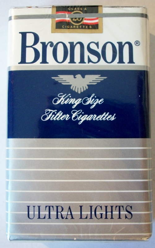 Bronson Ultra Lights, Filter King Size - vintage American Cigarette Pack