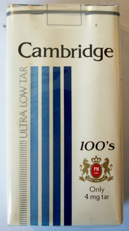Cambridge Ultra Low Tar 100's - vintage American Cigarette Pack (version 2)