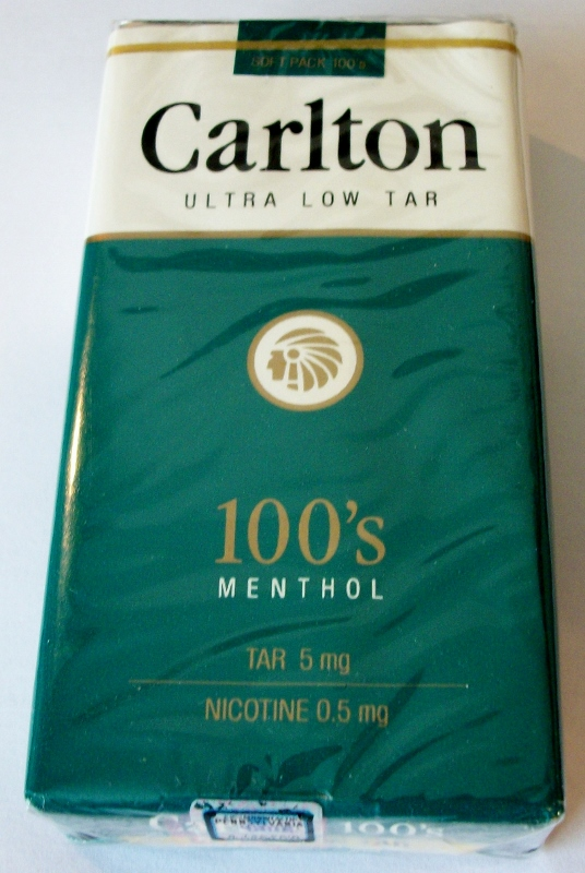 Carlton 100's Menthol Ultra Low Tar - vintage American Cigarette Pack