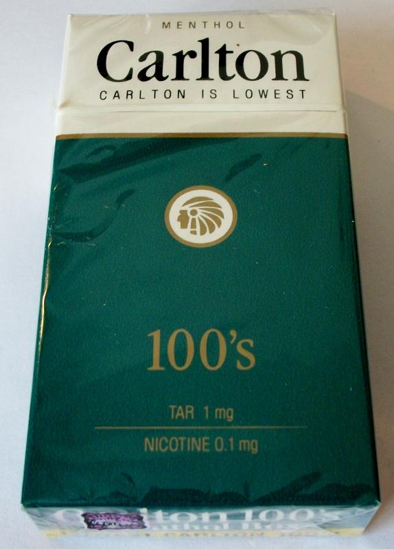 Carlton Menthol 100's box - vintage American Cigarette Pack