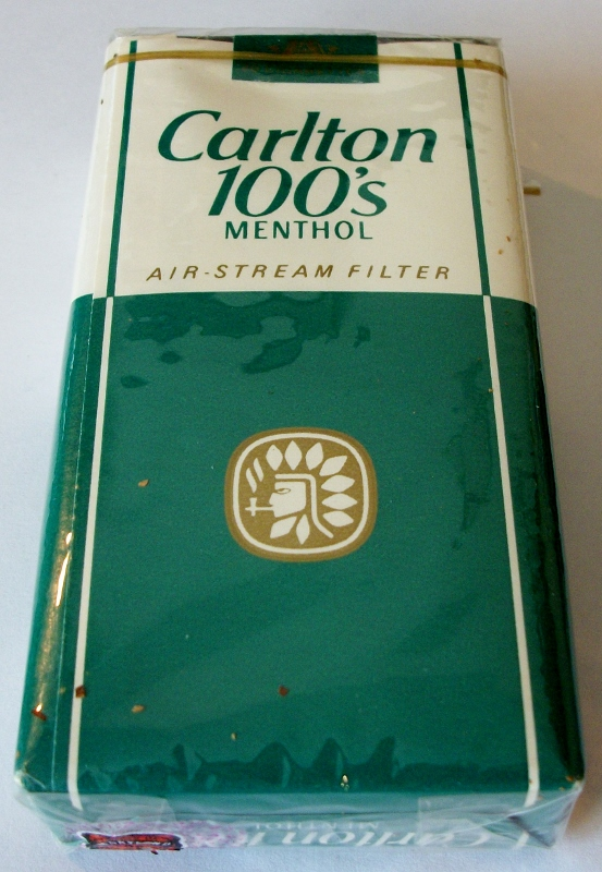 Carlton 100's Menthol Air-Stream Filter - vintage American Cigarette Pack