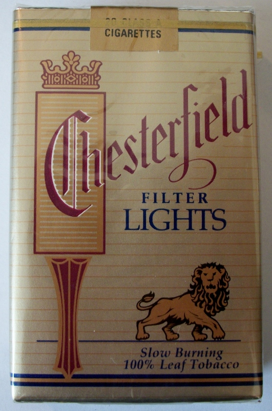 Chester Filter Lights Lion Label, King Size - vintage American Cigarette Pack