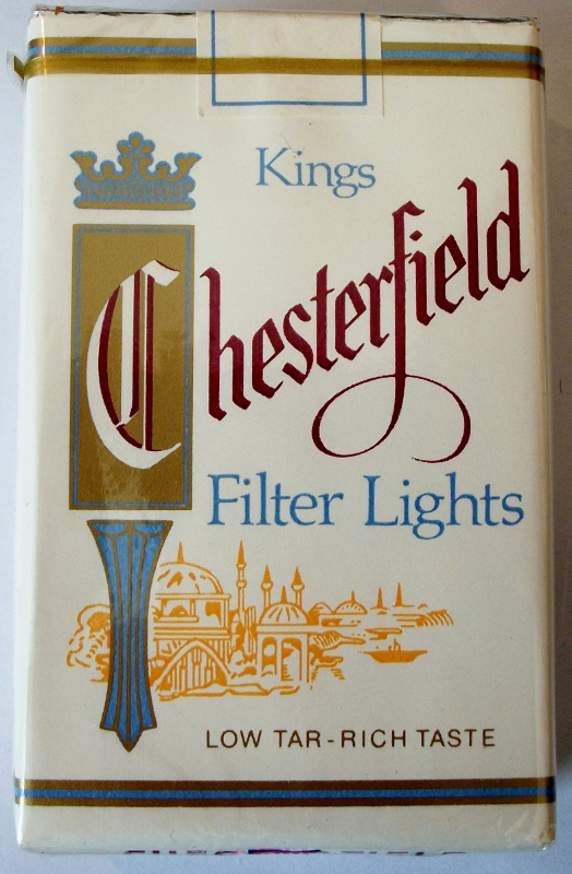 Chesterfield Filter Lights, Kings - vintage American Cigarette Pack