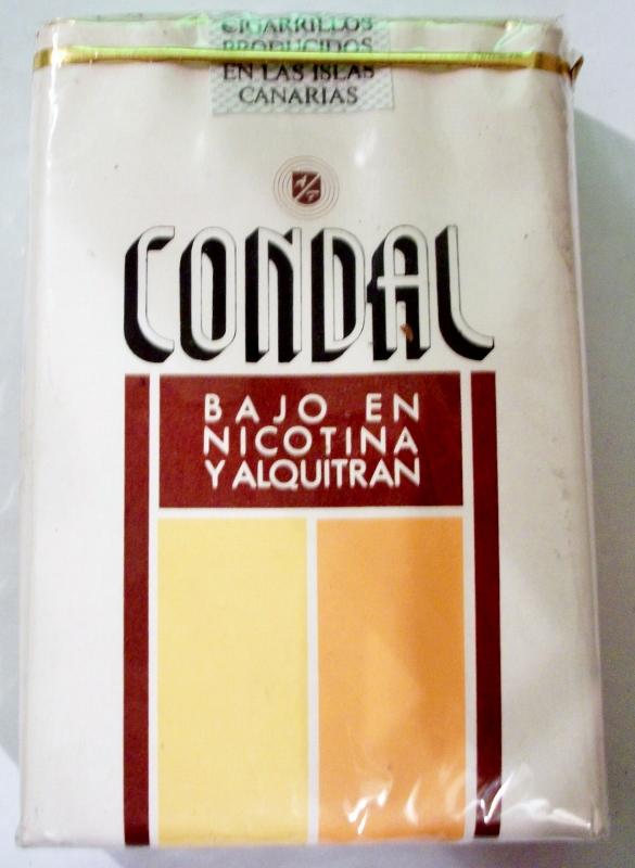 Condal Bajo en Nicotina y Alquitran - vintage Canary Islands Cigarette Pack