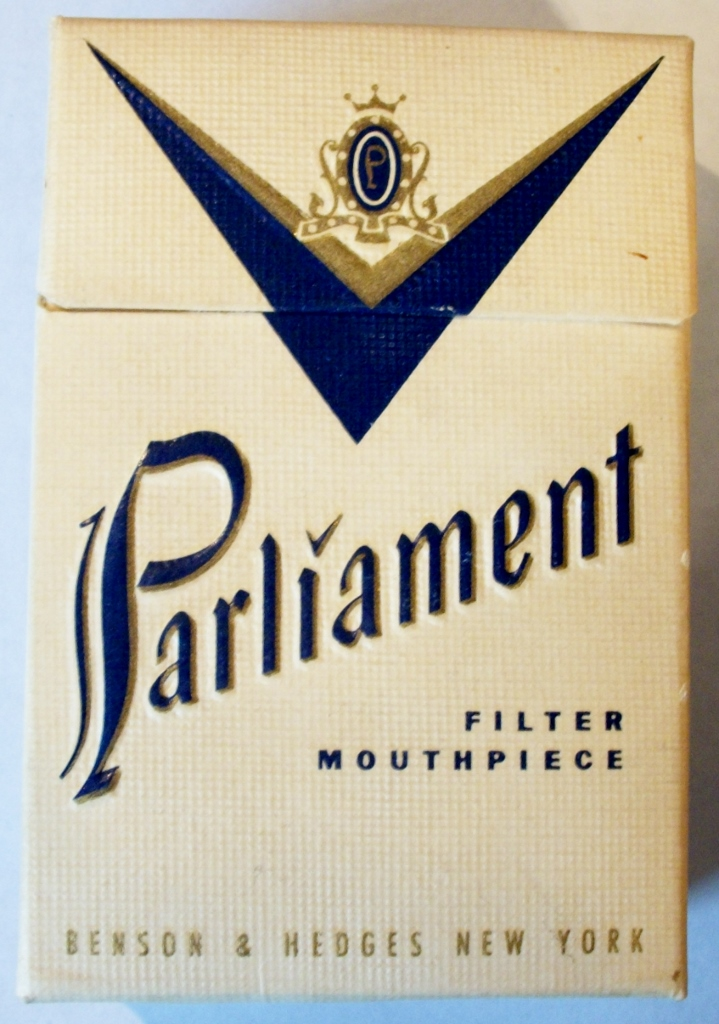 Parliament - Filter Mouthpiece, 1950s vintage American Cigarette Pack