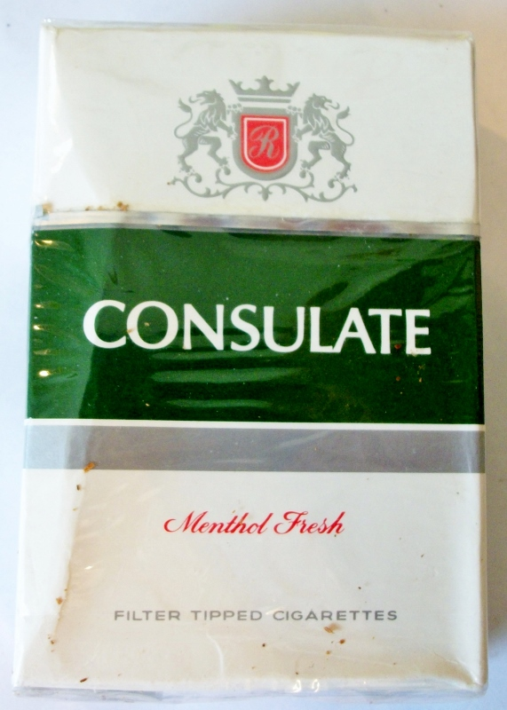 Consulate Menthol Fresh, King Size Box - vintage Fijian Cigarette Pack