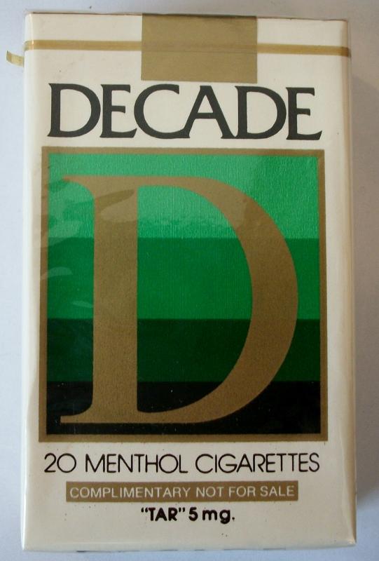 Decade 85mm Menthol - vintage American Cigarette Pack