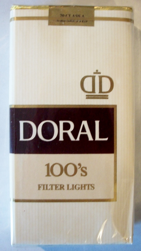 Doral 100's Filter Lights - vintage American Cigarette Pack