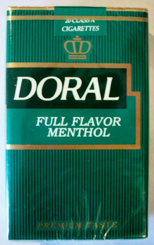 Doral Full Flavor Menthol King Size, premium taste - vintage American Cigarette Pack