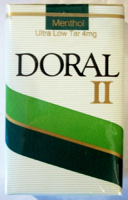 Doral II Menthol, King Size, ultra low tar - vintage American Cigarette Pack