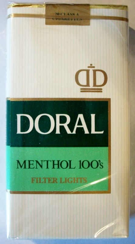 Doral Menthol 100's Filter Lights - vintage American Cigarette Pack
