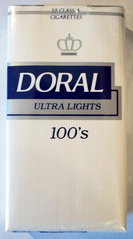 Doral Ultra Lights 100's - vintage American Cigarette Pack (NC stamp)