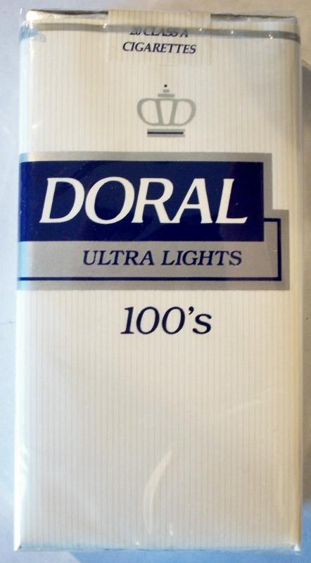 Doral Ultra Lights 100's - vintage American Cigarette Pack (MD stamp)