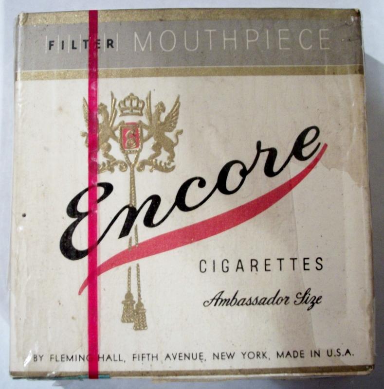 Encore Ambassador Size, Filter, WWII (1943) - vintage American Cigarette Pack