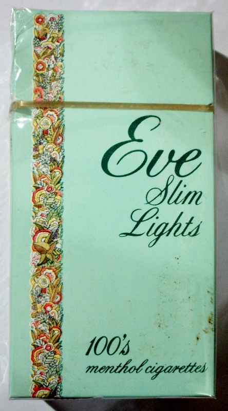 Eve Slim Lights 100's Menthol box - vintage American Cigarette Pack