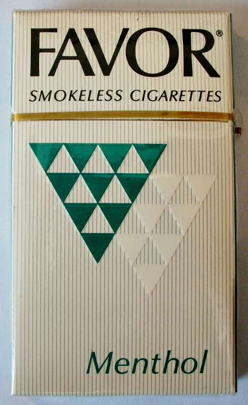 Favor Smokeless Cigarettes Menthol, King Size - vintage American Cigarette Pack