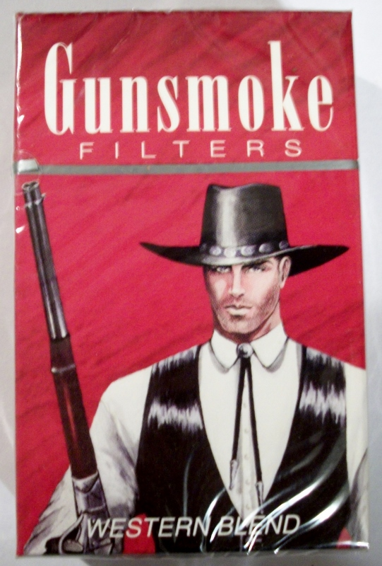 Gunsmoke Filters King Size Western Blend box - vintage American Cigarette Pack