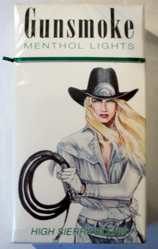 Gunsmoke Menthol 100's High Sierra Blend box - vintage American Cigarette Pack