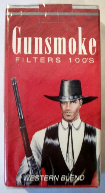 Gunsmoke Filters 100's Western Blend - vintage American Cigarette Pack