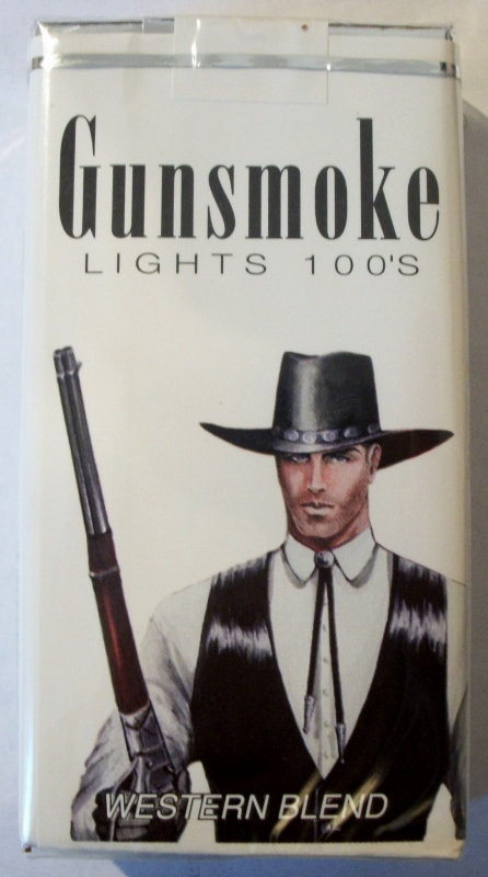 Gunsmoke Lights 100's Western Blend - vintage American Cigarette Pack