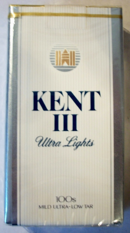 Kent III Ultra Lights 100's - vintage American Cigarette Pack