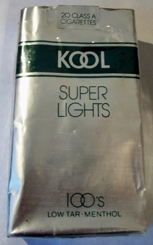 Kool Super Lights 100's Menthol - vintage American Cigarette Pack