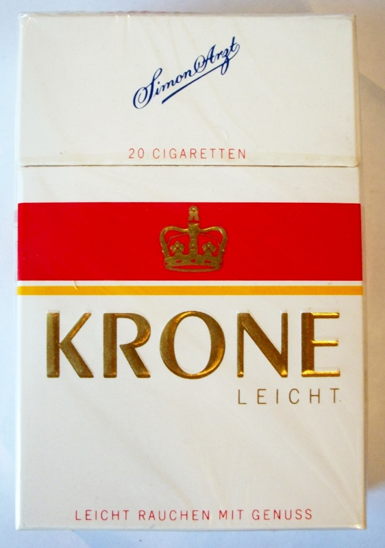 Krone Leicht Cigarettes - vintage German Cigarette Pack (for export to Spain)