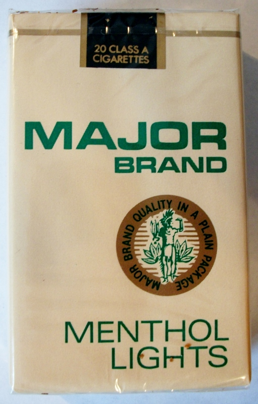 Major Brand Menthol Lights - vintage American Cigarette Pack
