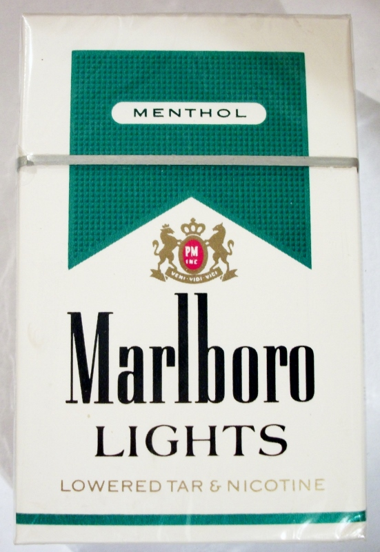 Marlboro Menthol Lights filter, King Size box - vintage American Cigarette Pack