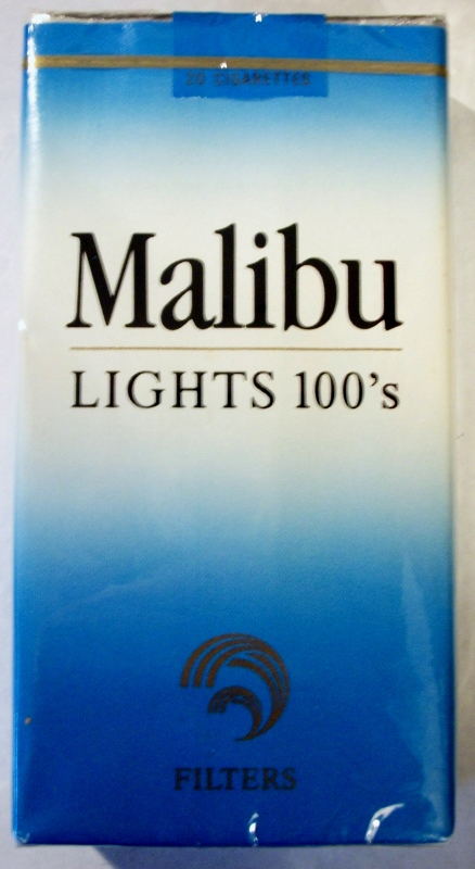 Malibu Lights 100's Filters - vintage American Cigarette Pack