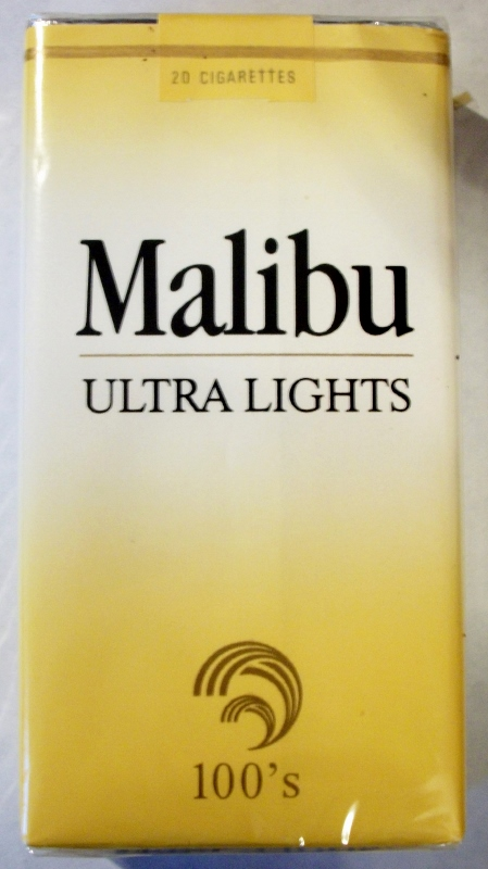 Malibu Ultra Lights 100's - vintage American Cigarette Pack