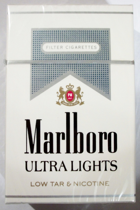 Marlboro Ultra Lights filter, King Size box - vintage American Cigarette Pack