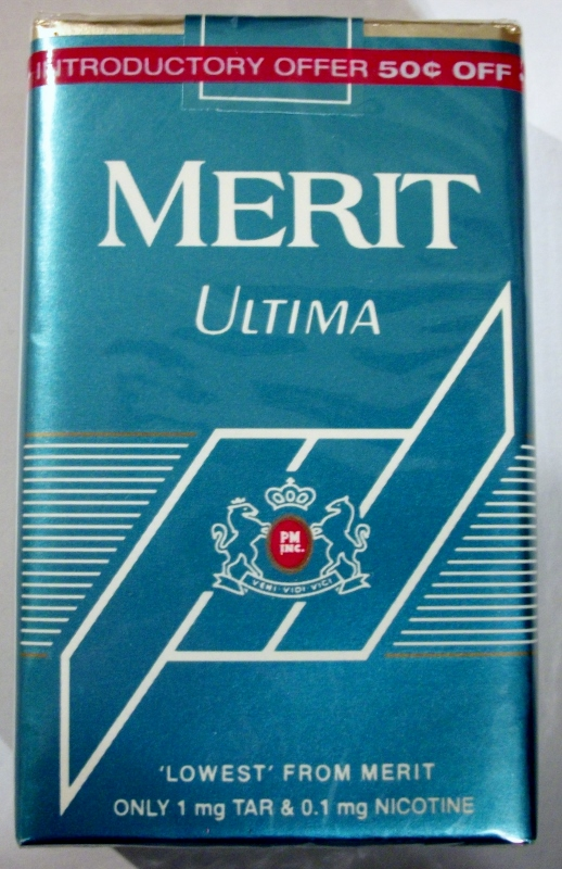 Merit Ultima, King Size - vintage American Cigarette Pack