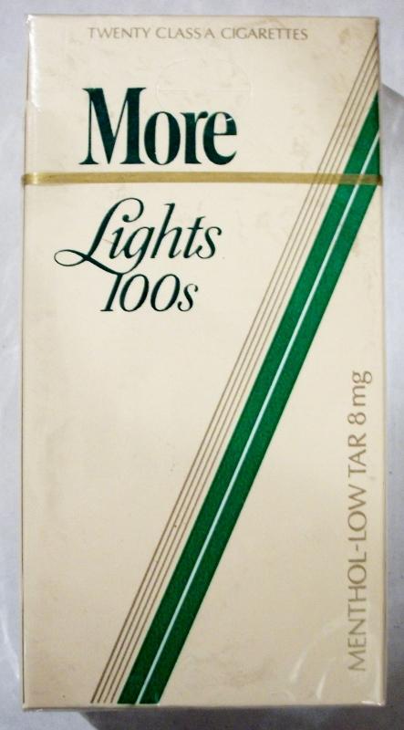 More Lights 100's Menthol (Low Tar) - vintage American Cigarette Pack