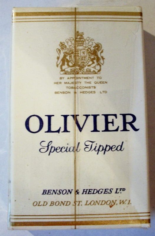 Olivier Special Tipped 70mm's - vintage English Cigarette Pack