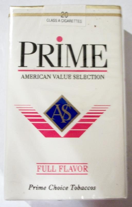 Prime Full Flavor AVS, King Size - vintage American Cigarette Pack