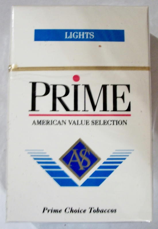 Prime Lights Flavor AVS, King Size Box - vintage American Cigarette Pack