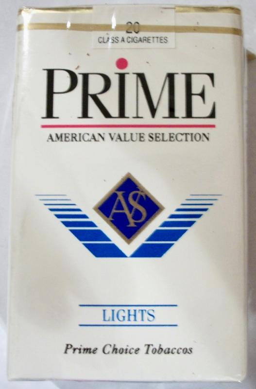 Prime Lights Flavor AVS, King Size - vintage American Cigarette Pack