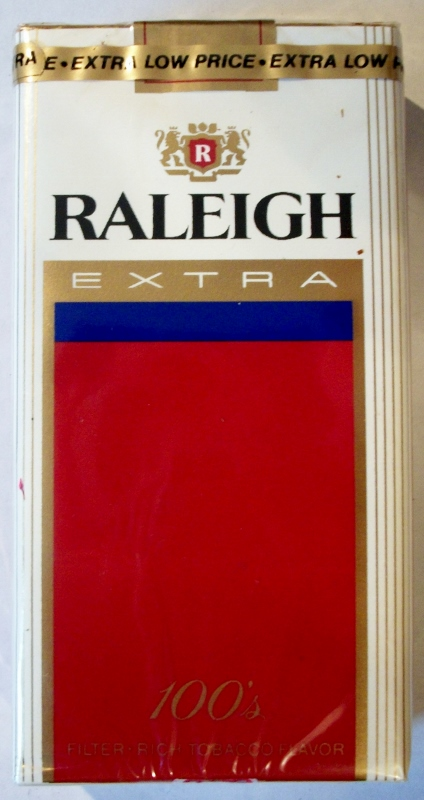 Raleigh Extra Filter 100's - vintage American Cigarette Pack