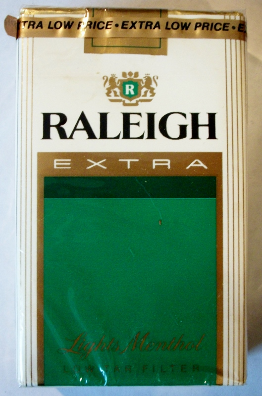 Raleigh Extra Lights Menthol King Size - vintage American Cigarette Pack