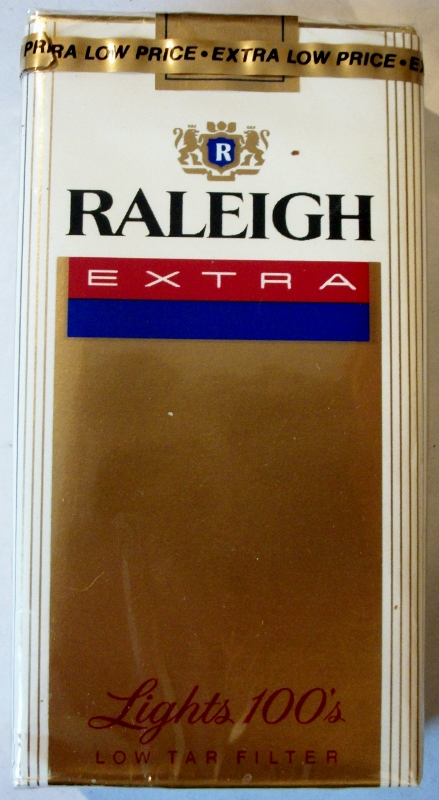 Raleigh Extra Lights 100's - vintage American Cigarette Pack